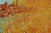 n. 11 , LUIGI MASIN, Rosso a San Giorgio Venezia, olio su sacco, 40 x 50 , 2013, 3870