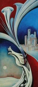 Enzo Santini, Paesaggio con Cavallo, olio su legno, 90 x 60,1992