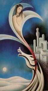 Enzo Santini, Siena in the night, Mixer technique, 70x50, 1992