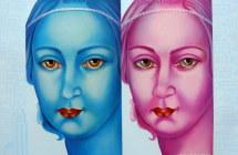 """Diego Valentinuzzi """" in un gioco di specchi """" 60x50 olio su tela"""